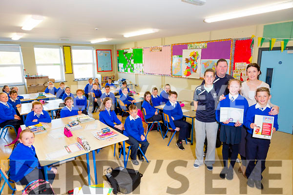 "Move It Fitness Programme Picture l-r Students Hannah McKenna and Conor Breen,  with Amy Foley, Assistant Co-ordinator of the ""Move It Programme"", Brendan Hogan, Foundation Sports , Laura Horgan, Teacher and 4th and 5th class of St Theresa's NS Kilflynn on Thursday"