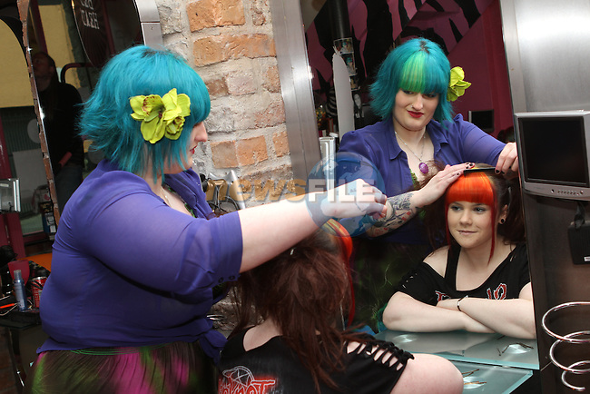 Manager Kayleigh O'Brien with Tanya Reilly at Bubblegum creating Funky Fringes as part of the Drogheda Fringe Festival...(Photo Jenny Matthews/www.golffile.ie)