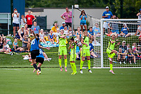 Kansas City, MO - Saturday June 17, 2017: Yael Averbuch, Megan Rapinoe, Nahomi Kawasumi, Beverly Yanez, Jess Fishlock during a regular season National Women's Soccer League (NWSL) match between FC Kansas City and the Seattle Reign FC at Children's Mercy Victory Field.