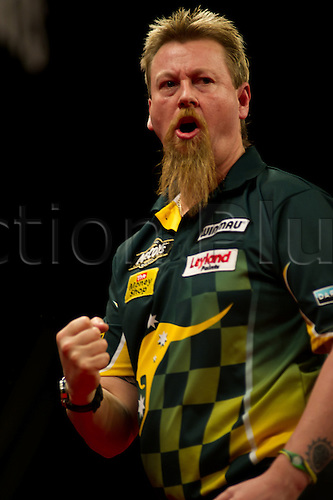03.05.2012 Birmingham, England. Simon Whitlock in action on Week Thirteen of the McCoy's 2012 PDC Premier League Darts from the NIA in Birmingham.