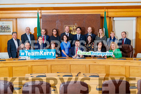 Front from left: Michael Scannell, Kerry County Council, Sarah Flaherty, IT Tralee and The Tom Crean Business Centre, Bridget Fitzgerald, Kerry County Council, Niamh O'Sullivan, Head of Community Department Kerry County Council, Niall Kelliher, Mayor Kerry County Council, Louise Burke, IRD Duhallow, Moira Murrell, CEO Kerry County Council and Brid McElligott, IT Tralee. Back from Left: Cllr. Michael O'Shea, Tomás Hayes, Kerry Enterprise Board, Kevin McCarthy, Tralee Chamber Alliance, Patricia Dowling, NEWKD, Liam Cronin, CEO at RDI hub, Noel Spillane, South Kerry Partnership and Dónal Mac an tSíthigh Údarás na Gaeltachta,Aoife O'Brien, Kerry SciTech, Brendan O'Donnell, IT Tralee and Catherine Moylan, Vice-Chairperson of Listowel Business and Community Alliance
