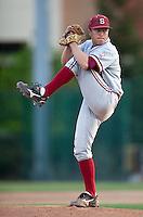 SANTA CLARA, CA - April 19, 2011: Dean McArdle of Stanford baseball pitches during Stanford's game against Santa Clara at Stephen Schott Stadium. Stanford won 10-3. McArdle got the win.
