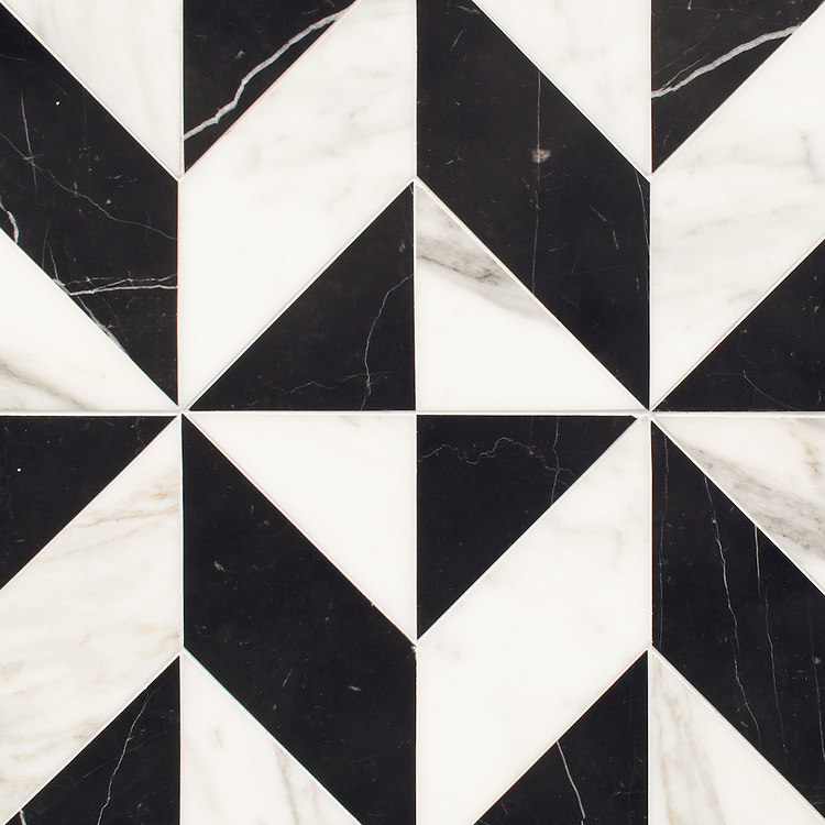 Lancaster Large, a hand-cut stone mosaic, shown in polished Calacatta Tia and Nero Marquina, is part of the Palazzo™ collection by New Ravenna..