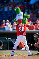 Philadelphia Phillies right fielder Trevor Plouffe (80) at bat during a Grapefruit League Spring Training game against the Baltimore Orioles on February 28, 2019 at Spectrum Field in Clearwater, Florida.  Orioles tied the Phillies 5-5.  (Mike Janes/Four Seam Images)
