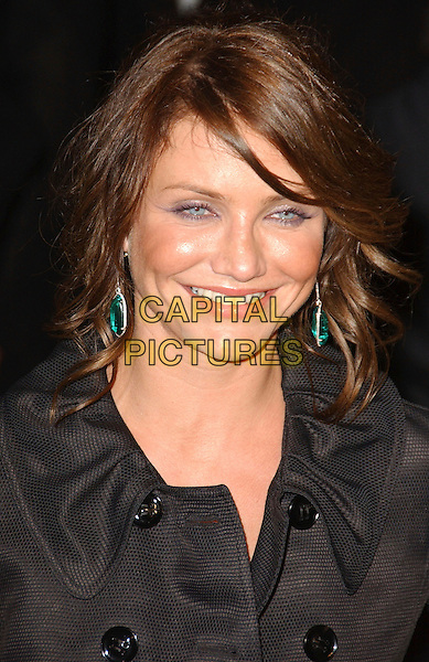 CAMERON DIAZ.The 2007 Vanity Fair Oscar Party Hosted by Graydon Carter held at Morton's, West Hollywood, California, USA, 25 February 2007..oscars portrait headshot black coat green turquoise earrings.CAP/ADM/GB.©Gary Boas/AdMedia/Capital Pictures.