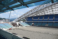 13.07.2015. Sochi, Russia. Builders work in the Fisht stadium, former Olympic stadium, and future stadium for the FIFA soccer world cup in the Olympic park in Sochi, Russia, 13 July 2015. In 2018 matches of the soccer world cup will take place in the stadium.