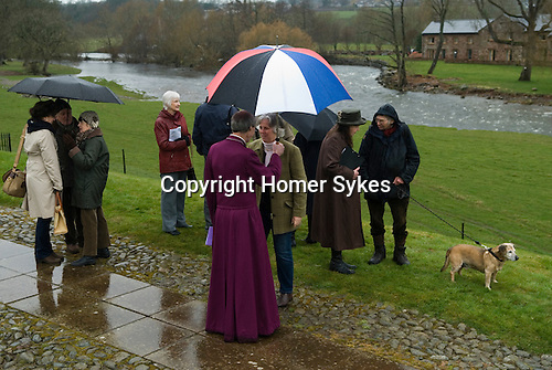 The Lady Anne Clifford Dole Ceremony Brougham Castle Cumbria 2016. Four hundredth anniversary of the dole ceremony. Members of the congregation gather after the service.
