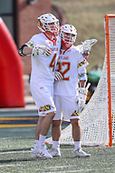 College Park, MD - February 18, 2017: Maryland Terrapins Colin Giblin (4) celebrates after scoring a goal during game between High Point and Maryland at  Capital One Field at Maryland Stadium in College Park, MD.  (Photo by Elliott Brown/Media Images International)