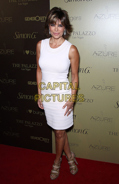 Lisa Rinna.Simon G. Jewelry Summer Soiree at Azure Luxury pool at the Palazzo Las Vegas,Las Vegas, Nevada, USA, .4th June 2011..full length sleeveless white dress .CAP/ADM/MJT.© MJT/AdMedia/Capital Pictures.