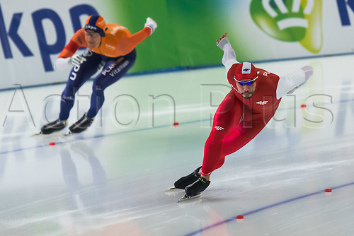 January 29th 2017, Sportforum, Berlin, Germany; ISU Speed Skating World Cup;  ISU Speed Skating World Cup , 500m Division A; Artur Was (POL), Ronald Mulder (NED)