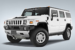 Low aggressive front three quarter view of a 2008 Hummer H2 SUV