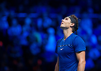 Rafael Nadal of Spain (1) in action against David Goffin of Belgium (7) during their Group Pete Sampras Match today<br /> <br /> Photographer Ashley Western/CameraSport<br /> <br /> International Tennis - Nitto ATP World Tour Finals - O2 Arena - London - Day 2  - Monday 13th November 2017<br /> <br /> World Copyright &not;&copy; 2017 CameraSport. All rights reserved. 43 Linden Ave. Countesthorpe. Leicester. England. LE8 5PG - Tel: +44 (0) 116 277 4147 - admin@camerasport.com - www.camerasport.com