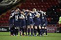 Stevenage victory huddle. Crewe Alexandra v Stevenage - npower League 1 - The Alexandra Stadium, Gresty Road, Crewe - 5th January, 2013. © Kevin Coleman 2013.