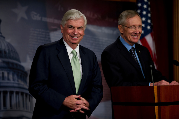 WASHINGTON, DC - July 15: Senate Banking Chairman Christopher J. Dodd, D-Conn., and Senate Majority Leader Harry Reid, D-Nev., during a news conference after the Senate passed the financial regulatory overhaul bill. (Photo by Scott J. Ferrell/Congressional Quarterly)