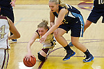 02/08/13--Milwaukie Mustangs senior Alexis Noren (2) dives for a loose ball against Liberty Falcons' Elaina Maki (50) in the first half at Milwaukie High School..Photo by Jaime Valdez.