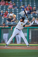 Jared Walsh (18) of the Salt Lake Bees bats against the Round Rock Express at Smith's Ballpark on June 10, 2019 in Salt Lake City, Utah. The Bees defeated the Express 9-7. (Stephen Smith/Four Seam Images)