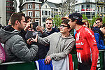 Michael Matthews (AUS) Team Sunweb poses for a fan at the team presentation before the start of the 105th edition of Liège-Bastogne-Liège 2019, La Doyenne, running 256km from Liege to Liege, Belgium. 27th April 2019<br /> Picture: ASO/Gautier Demouveaux | Cyclefile<br /> All photos usage must carry mandatory copyright credit (© Cyclefile | ASO/Gautier Demouveaux)