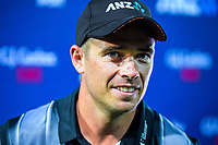 Black Caps captain Tim Southee after the 4th Twenty20 International cricket match between NZ Black Caps and England at McLean Park in Napier, New Zealand on Friday, 8 November 2019. Photo: Dave Lintott / lintottphoto.co.nz