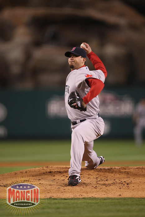 ANAHEIM - OCTOBER 9:  Josh Beckett of the Boston Red Sox pitches against the Los Angeles Angels of Anaheim during Game 2 of the American League Division Series at Angel Stadium on October 9, 2009 in Anaheim, California. Photo by Brad Mangin