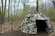 A wigwam at Sandy Point Discovery center. Located in Stratham, New Hampshire USA.