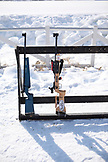 USA, Utah, Midway, Soldier Hollow, biathlon rifles stand in a row