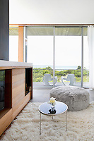 minimal contemporary living room with view