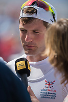 Sarasota. Florida USA. Men's single scull.  Bronze Medalist, GBR M1X. Tom BARRAS interveiwed by BBC sport. Sunday Final's Day at the  2017 World Rowing Championships, Nathan Benderson Park<br /> <br /> Sunday  01.10.17   <br /> <br /> [Mandatory Credit. Peter SPURRIER/Intersport Images].<br /> <br /> <br /> NIKON CORPORATION -  NIKON D4S  lens  VR 500mm f/4G IF-ED mm. 200 ISO 1/640/sec. f 8