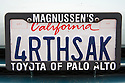 A close up of '4RTHSAK' (For Earth's Sake) custom plate on Toyota Prius. California, USA