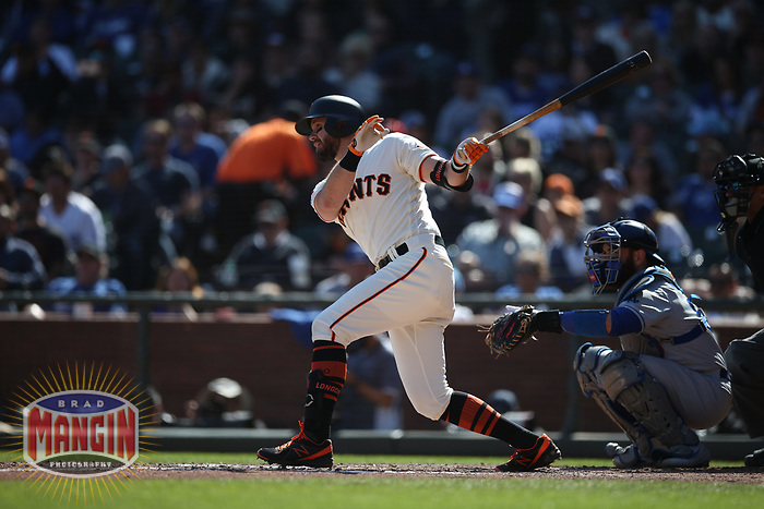 SAN FRANCISCO, CA - SEPTEMBER 28:  Evan Longoria #10 of the San Francisco Giants bats against the Los Angeles Dodgers during the game at Oracle Park on Saturday, September 28, 2019 in San Francisco, California. (Photo by Brad Mangin)