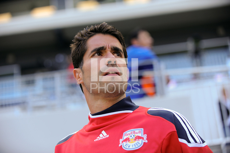 Juan Pablo Angel (9) of the New York Red Bulls enters the field for warmups. The New York Red Bulls defeated the Philadelphia Union 2-1 during a Major League Soccer (MLS) match at Red Bull Arena in Harrison, NJ, on April 24, 2010.