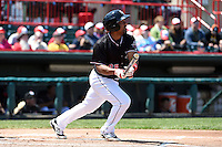 Erie SeaWolves second baseman Marcus Lemon (39) at bat during a game against the Akron RubberDucks on May 18, 2014 at Jerry Uht Park in Erie, Pennsylvania.  Akron defeated Erie 2-1.  (Mike Janes/Four Seam Images)