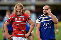 Billy Twelvetrees of Gloucester Rugby and Tom Dunn of Bath Rugby after the match. Gallagher Premiership match, between Bath Rugby and Gloucester Rugby on September 8, 2018 at the Recreation Ground in Bath, England. Photo by: Patrick Khachfe / Onside Images