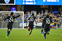 San Jose, CA - Saturday, March 11, 2017: Anibal Godoy celebrates scoring during a Major League Soccer (MLS) match between the San Jose Earthquakes and the Vancouver Whitecaps FC at Avaya Stadium.
