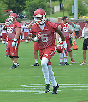 NWA Democrat-Gazette/MICHAEL WOODS &bull; @NWAMICHAELW<br /> University of Arkansas Kendrick Edwards (6) runs drills during the Arkansas Razorbacks practice Thursday August 6, 2015 in Fayetteville.