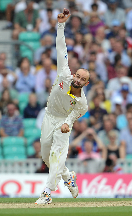 Australia's Nathan Lyon in action today <br /> <br /> Photographer Ashley Western/CameraSport<br /> <br /> International Cricket - Investec Ashes Test Series 2015 - Fifth Test - England v Australia - Day 4 - Sunday 23rd August 2015 - Kennington Oval - London<br /> <br /> &copy; CameraSport - 43 Linden Ave. Countesthorpe. Leicester. England. LE8 5PG - Tel: +44 (0) 116 277 4147 - admin@camerasport.com - www.camerasport.com