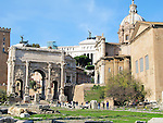 The Arch of Septimius Severus in the Roman Forum in Rome, Italy.  Dedicated in 203 A.D.