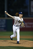 Dustin May (40) of the Rancho Cucamonga Quakes pitches against the Lancaster JetHawks at LoanMart Field on September 9, 2017 in Rancho Cucamonga, California. Lancaster defeated Rancho Cucamonga, 12-7. (Larry Goren/Four Seam Images)