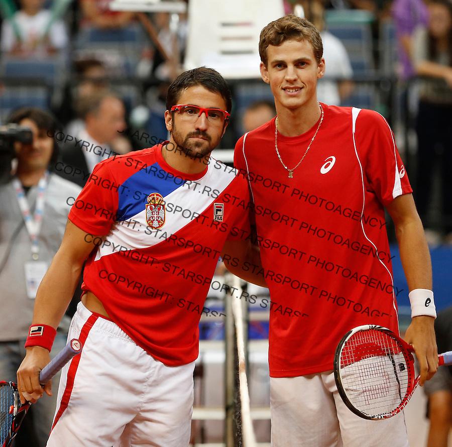 Tennis Tenis<br /> Davis Cup semifinal polufinale<br /> Serbia v Canada<br /> Janko Tipsarevic v Vasek Pospisil<br /> Beograd, 15.09.2013.<br /> foto: Srdjan Stevanovic/Starsportphoto &copy;