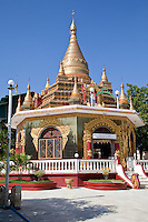 Myanmar, Burma.  Buddhist Shrine at the Zayar Thein Gyi Nunnery, near Mandalay.