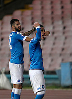 Calcio, Serie A: Napoli vs Juventus. Napoli, stadio San Paolo, 26 settembre 2015. <br /> Napoli&rsquo;s Elseid Hysaj, left, and Jose' Maria Callejon celebrate at the end of the Italian Serie A football match between Napoli and Juventus at Naple's San Paolo stadium, 26 September 2015. Napoli won 2-1.<br /> UPDATE IMAGES PRESS/Isabella Bonotto