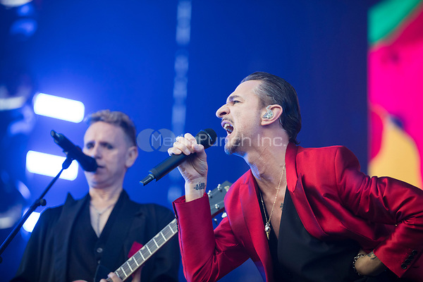 Singers Martin Gore and Martin Gore of British band Depeche Mode perform during a concert in Leipzig, Germany, 27 May 2017. It was the first concert on the German leg of their 'Global Spirit'tour. Photo: Alexander Prautzsch/dpa-Zentralbild/dpa /MediaPunch ***FOR USA ONLY***