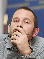 ** NO FEE PIC**.01/10/2012. Ben Hayes Director of Projects & Development Statewatch during a briefing by Statewatch & the ICCL entitled Unlocking the EU - A Statewatch Masterclass in the EU Parliament Offices on Dawson Street. Dublin.The Irish Council for Civil Liberties (ICCL) has recently been awarded significant funding by the European Commission to formalise its European Rights Network, JUSTICIA, and is very pleased to announce that the first of a series of EU-wide Masterclasses by its JUSTICIA network partner, Statewatch..Photo: Gareth Chaney Collins