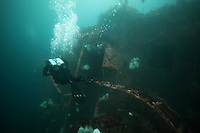 Monday, June 21, 2010:  Diver Jay Schwartz of the San Diego Oceans Foundation swims along the outside of the wreck of the HMCS Yukon.  The wreck which was prepared and sunk for recreational divers to enjoy will have been underwater for ten years in July of this year.