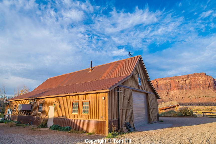 Ranch barn and canyons  Nature Conservancy Dugout Ranch, Utah  Indian Creek, Near Canyonlands National Park