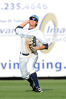 Charlotte Stone Crabs outfielder Taylor Motter #14 during a game against the Palm Beach Cardinals at Charlotte Sports Park on April 7, 2013 in Port Charlotte, Florida.  Palm Beach defeated Charlotte 8-1.  (Mike Janes/Four Seam Images)