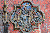 St Honestus charged with instructing St Firmin, low relief plaque on the South side of the Gothic choir screen, 1490-1530, commissioned by canon Adrien de Henencourt, depicting the life of St Firmin, in the South ambulatory of the Basilique Cathedrale Notre-Dame d'Amiens or Cathedral Basilica of Our Lady of Amiens, built 1220-70 in Gothic style, Amiens, Picardy, France. St Firmin, 272-303 AD, was the first bishop of Amiens. Amiens Cathedral was listed as a UNESCO World Heritage Site in 1981. Picture by Manuel Cohen