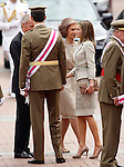 Spanish Royals, Queen Sofia (c), Prince Felipe (l) and Princess Letizia during a military parade marking the Armed Forces Day on June 2, 2012 in Valladolid.(ALTERPHOTOS/Acero)