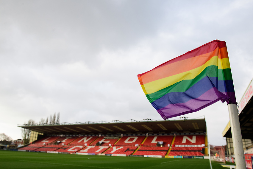 A general view of Sincil Bank, home of Lincoln City FC, showing a rainbow corner flag for LGBTQ day<br /> <br /> Photographer Chris Vaughan/CameraSport<br /> <br /> The EFL Sky Bet League Two - Lincoln City v Mansfield Town - Saturday 24th November 2018 - Sincil Bank - Lincoln<br /> <br /> World Copyright © 2018 CameraSport. All rights reserved. 43 Linden Ave. Countesthorpe. Leicester. England. LE8 5PG - Tel: +44 (0) 116 277 4147 - admin@camerasport.com - www.camerasport.com