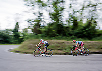 Thomas de Gendt (BEL/Lotto-Soudal) & Jenthe Biermans (BEL/Katusha-Alpecin) speeding down towards the finale<br /> <br /> Stage 8: Tortoreto Lido to Pesaro (239km)<br /> 102nd Giro d'Italia 2019<br /> <br /> ©kramon