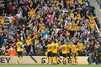 Wolverhampton Wanderers Raul Jimenez celebrates with team mates after scoring the opening goal of the game during Wolverhampton Wanderers vs Burnley, Premier League Football at Molineux on 16th September 2018